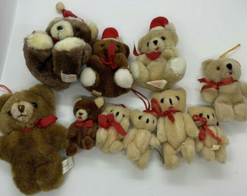 10 Vintage Teddy Bear Christmas Ornaments Plush Pets Some Jointed, Schmid Russ
