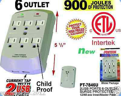 6 Outlet Surge Protector Wall Tap w/ 2 USB Ports - 900 Joules
