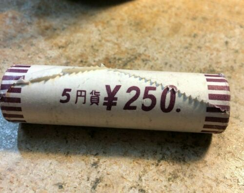 Vintage Japan Coin Lot  - 5 YEN - JAPANESE MINT ROLL - 50 Coins - FREE SHIPPING