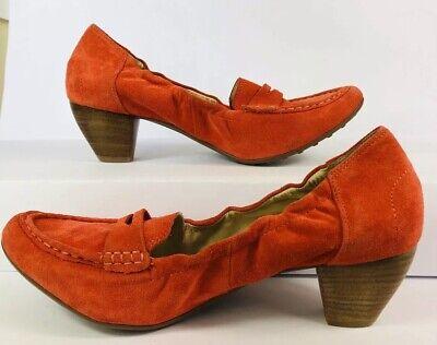 NEW Ladies HOGL Size 7.5 Moccasin Heels Elasticated Orange Suede Summer Loafers