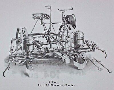 Ih Mccormick-deering 102 104 106 Horse Drawn Planter 100 Series Owners Manual