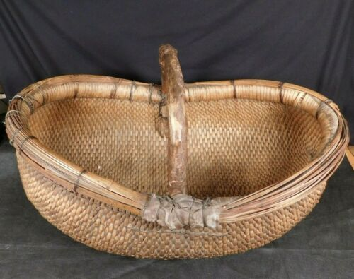 "LARGE Antique 26"" Chinese Basket Early 20th Century Willow Rice Wooden Handle"