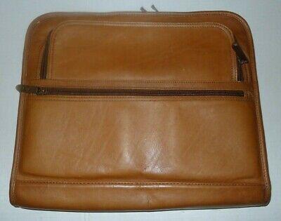 Avenues Distressed Brown Leather Portfolio Organizer Fan File Folder 14 X 11