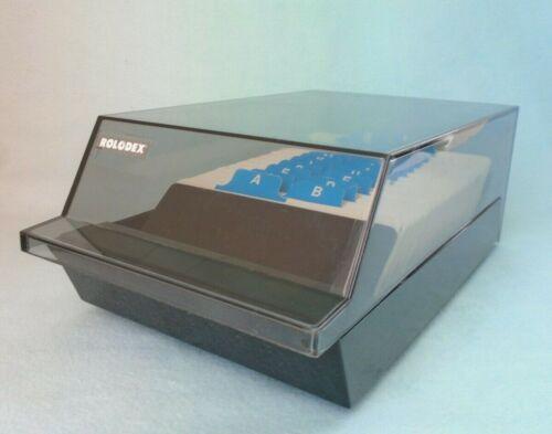 Vintage Rolodex Smokey Gray Clear Top & Black Base Card File
