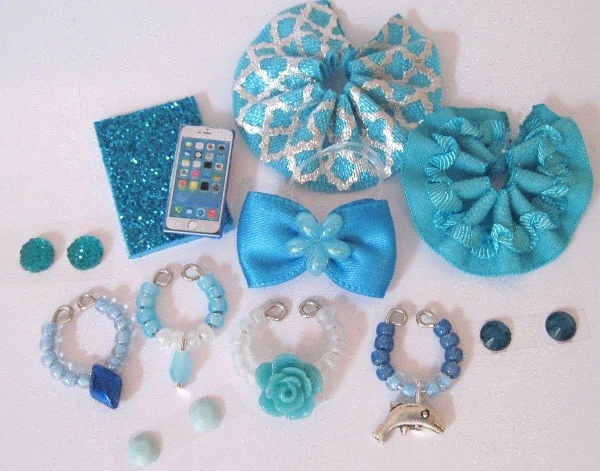 Littlest Pet Shop LPS 12 PC Clothes BLUE Accessories Custom Skirts Bow Necklaces