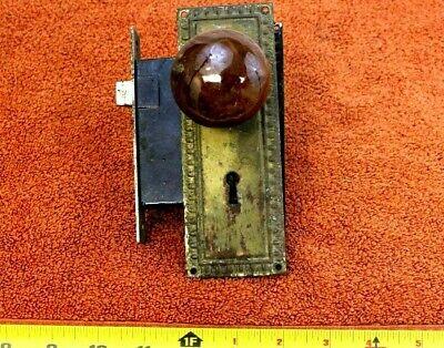 Vintage Porcelain Ornate Door Knob Set with Plates Hardware Home Decor #18 M47