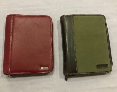 2 Franklin Covey 7 Ring Binders 1 Leather 1 Twill W Leather Trim