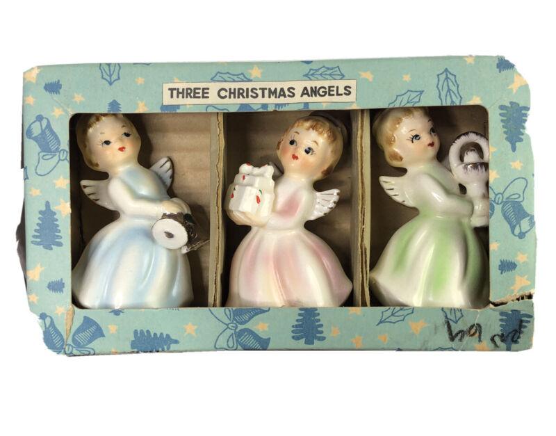 Three Christmas Angels Gold Trim Vintage Japan In Box MCM