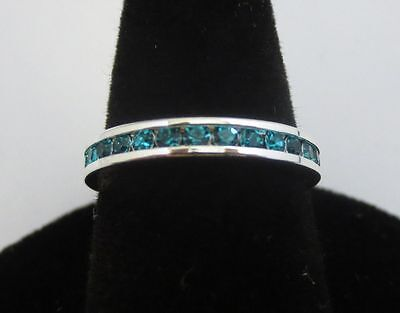 SIZE 9 STERLING SILVER PLATED STACKABLE DECEMBER BLUE ZIRCON ETERNITY RING