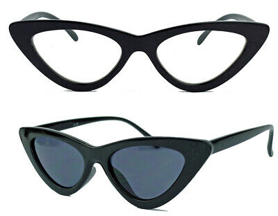 Cat Eye Retro Sonnenbrille Damen Modebrille Klarglas Vintage Blogger C82