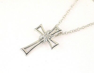 Diamond Accent Open Cross Pendant with Chain Sterling Silver (Diamond Open Cross Pendant)
