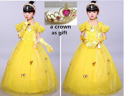 Kid Girl Princess Halloween Xmas Party Dress Beauty and the Beast Belle Costume