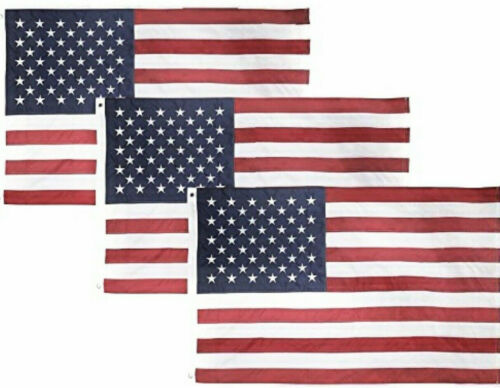 3 PACK 3x5 American Flags w/ Grommets - USA United States of America - USA Stars