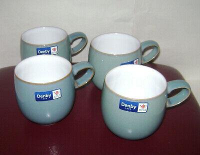 NEW Set of 4 DENBY AZURE BLUE SMALL CURVE MUGS CUP POTTERY STONEWARE (Azure Small Curve Mug)