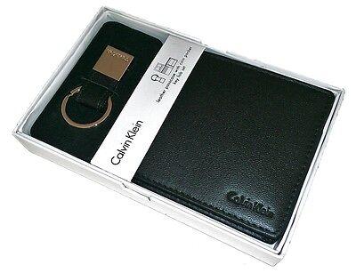 New Calvin Klein Men Black Leather Credit Card Coin Pocket Wallet Key Fob 79349