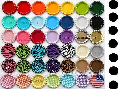 "100 pcs WITH DRILLED HOLE MIX FLAT DOUBLE SIDED PAINTED 1"" BOTTLE CAPS Linerless"
