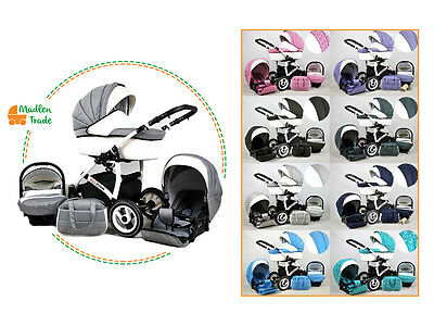 Baby Pram Pushchair 3in1 Travel System Buggy Optional Car Seat+Covers 10 Colour