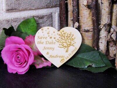 Save the Date Holzkarten mit Magnet, Gravur zur Hochzeit 8 cm Herz ()