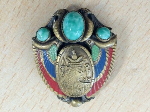 ANTIQUE PEKING GLASS EGYPTIAN DRESS CLIP BY NEIGER BROTHERS 1920