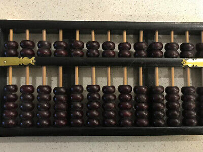 VINTAGE FLYING EAGLE ABACUS WOODEN BEADS GOLD ACCENTS ON CORNERS AND FRONT