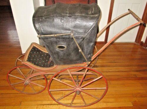 Antique Baby Pram Buggy Carriage Wood Wheels 1880