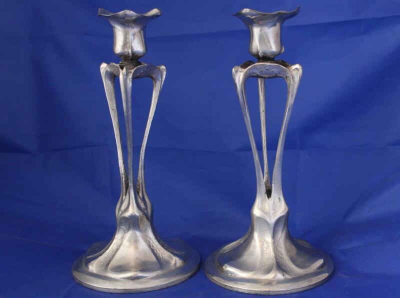 Antique Art Nouveau/Jugendstil Pair of Pewter Candleholders Germany c.1900s