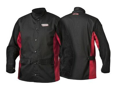 Lincoln Shadow Split Leather Sleeved Welding Jacket K2986-m Size Medium