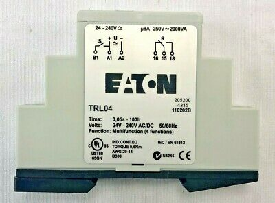 Eaton Trl04 Timing Relay Programmable Din Rail Panel Mountfixed Contacts