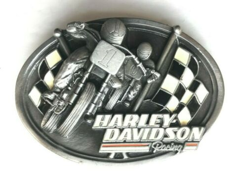 Harley Davidson Racing 1987 Belt Buckle Checkered Flag Motorcycle Vintage #1 HOG