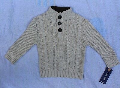 NWT CHEROKEE boys cute toddler Pullover Cable Knit sweater off-white sz 12 m.