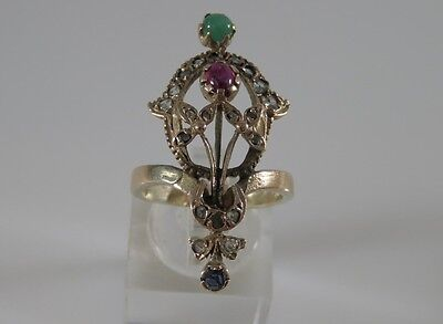 Antique Georgian 9K Yellow Gold Ruby, Sapphire Emerald and Diamond Ring Size 7