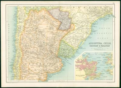 1912 Original Colour Antique Map  - SOUTH AMERICA ARGENTINA CHILE URUGUAY (81)