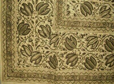 "Veggie Dye Block Print Tapestry Cotton Bedspread 108"" x 88"" Full-Queen Green"