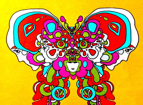 PETER MAX BOOK COVER PSYCHEDELIC FACE  - VERY LARGE - ORIGINAL 60