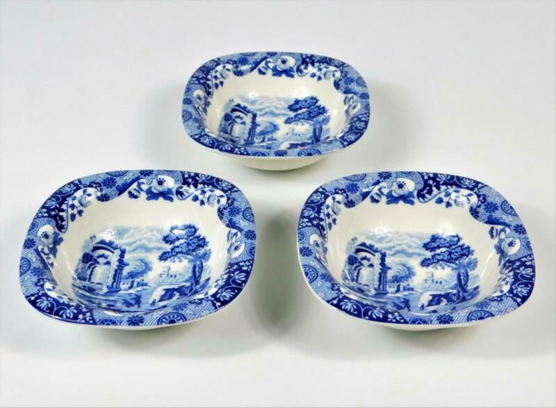 3 SPODE ENGLAND BLUE ITALIAN SQUARE BERRY FRUIT BOWLS 5""