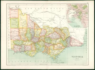 1912 Original Colour Antique Map - VICTORIA  MELBOURNE CITY PLAN  (5)