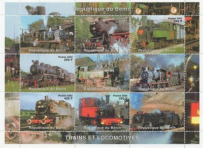 TRAINS OF THE WORLD STEAM TRAINS RAILWAY LOCOMOTIVE 2002 MNH STAMP SHEETLET
