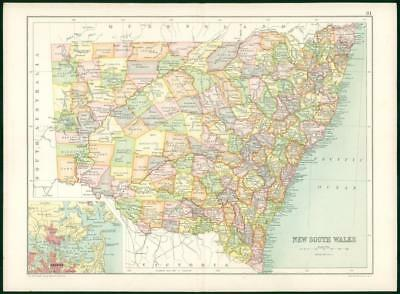 1912 Original Colour Antique Map - NEW SOUTH WALES Australia (4)