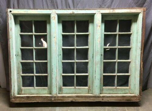 Antique Early Triple 10 Lite Casement Windows Shabby 43x59 VTG Cottage 1250-20B