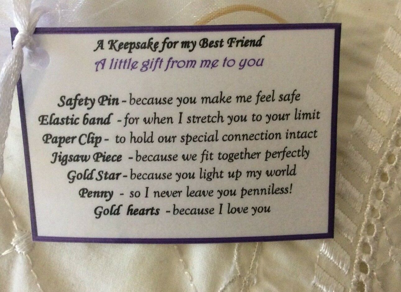 Details About Keepsafe Thank You Gift For My Best Friend Birthday Her Women Present