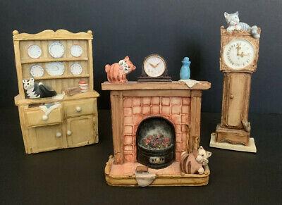 Vtg Peter Fagan Cat Figurines Scotland Lot of 3 Clock Hearth Hutch