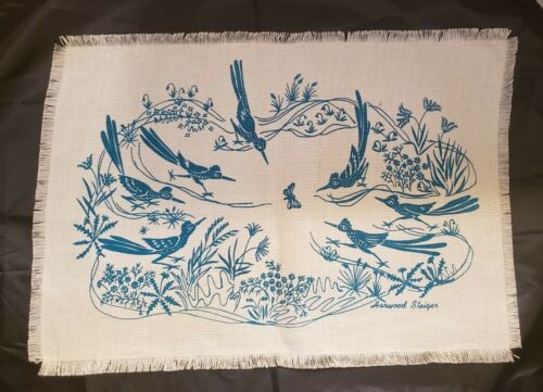 """VINTAGE HARWOOD STEIGER PLACE MAT - ROADRUNNERS & BUTTERFLY -14"""" BY 21"""""""