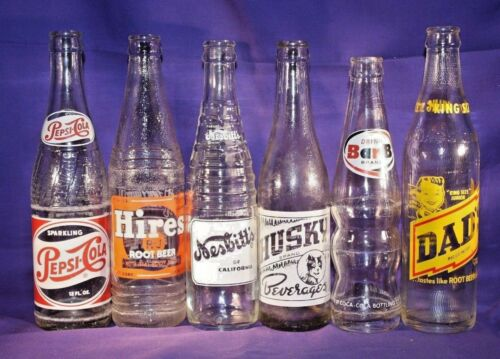 Lot of 6 Vintage Pop Sodas Bottles nesbitt pepsi hires dad