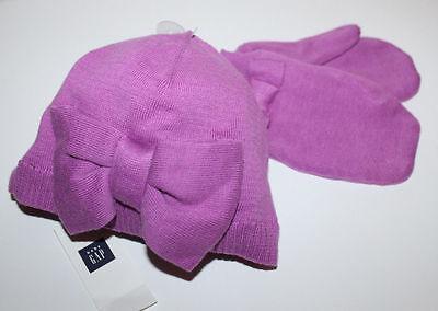 baby Gap New Purple Cotton Sweater Knit Hat & Mittens Set w/ Bow  Cotton Knit Hat Set