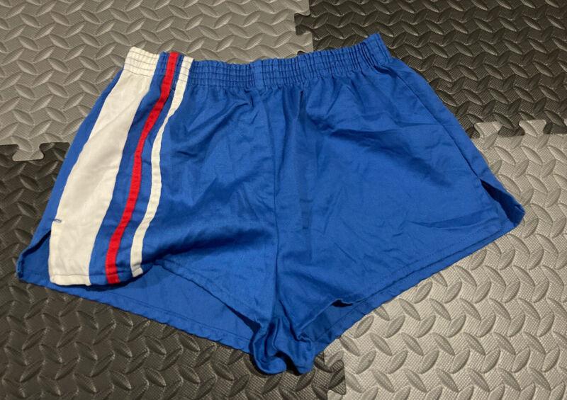 Vintage 70s 80s K-Mart Blue Striped Gym Running Track Sprinter Shorts Kmart Jog
