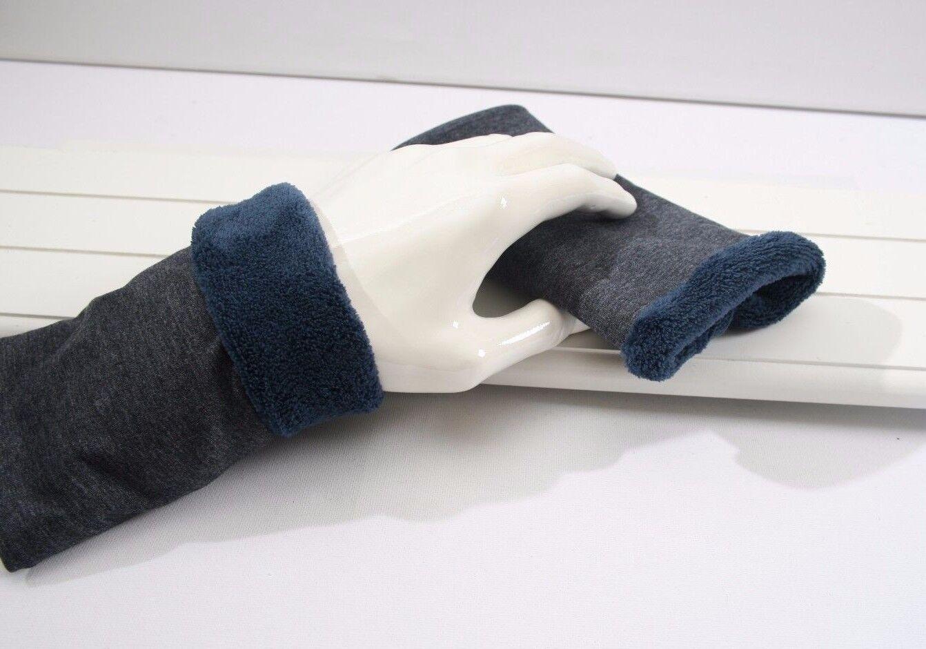 Neu Armstulpen Damen Herren Pulswärmer Blau Grau Jersey gefüttert Fleece