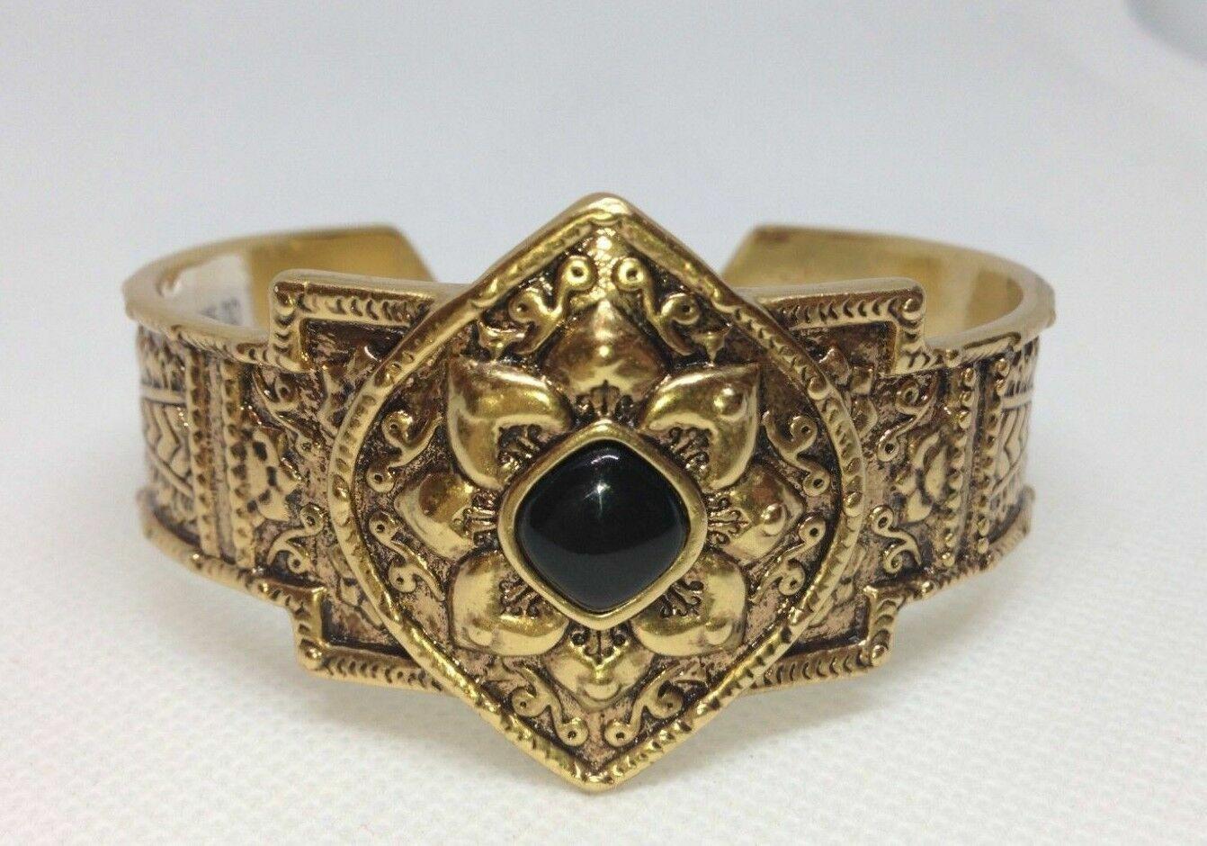 fabulous vintage antique gold onyx floral cuff