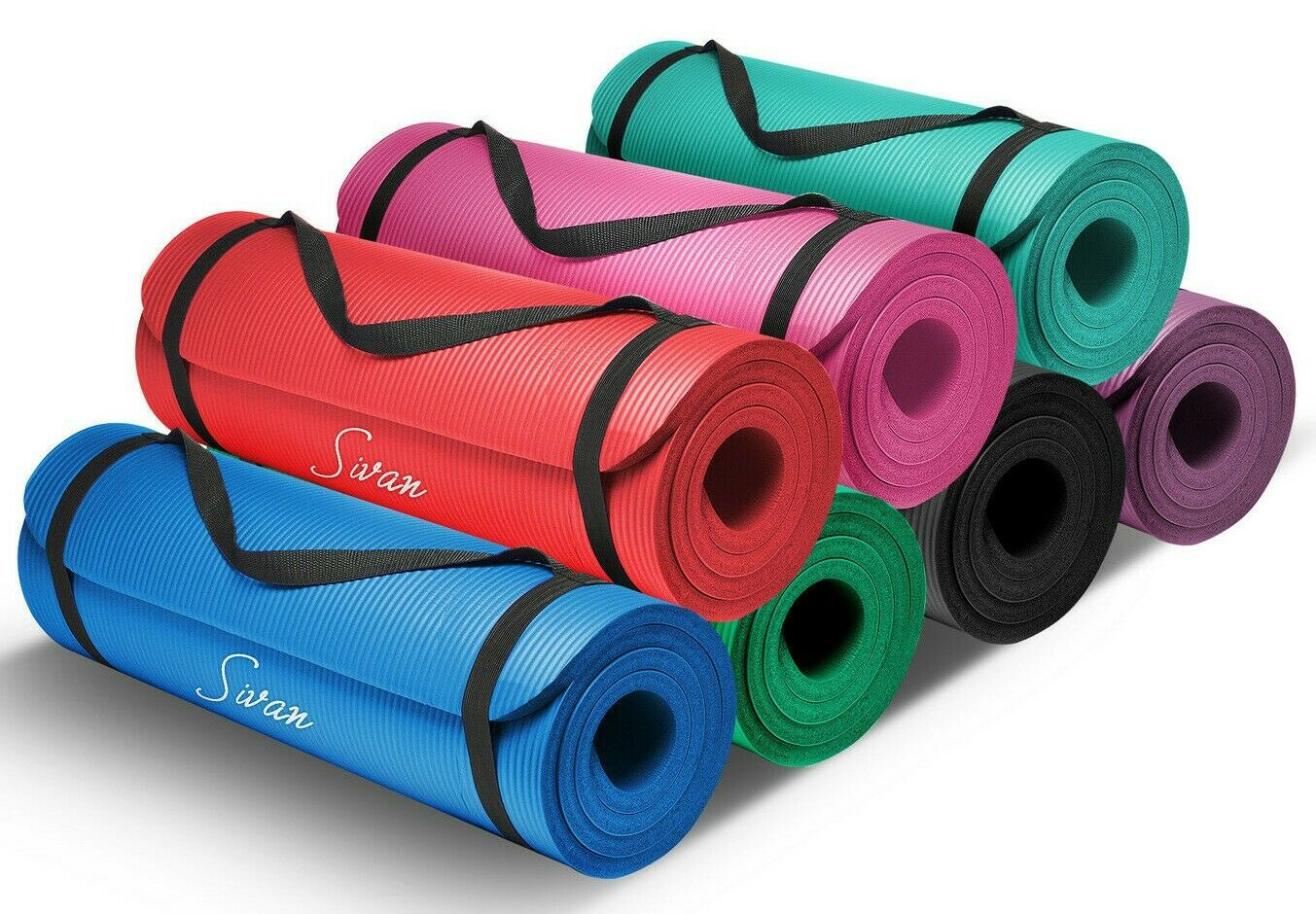 "Sivan Health & Fitness Yoga Mat - 1/2"" Thick, 71"" Inch Long - NBR Comfort Foam 1"