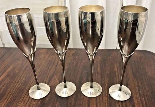"""Vintage Set of 4 Silver Monogrammed Champagne Wedding Toasting Flutes 10"""""""