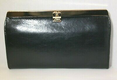 ABAS BLACK LEATHER WALLET/ CLUTCH /GOLD FRAME WITH PUSH LOCK CLOSURE 7.5'x 4